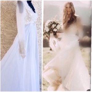 Vintage Victorian Lace Bohemian Wedding Gown XS 2